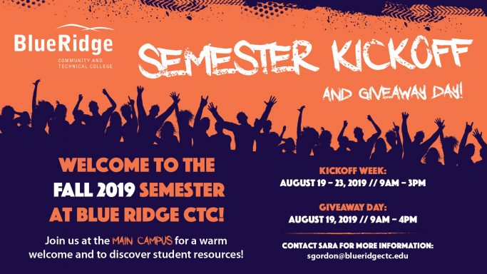 Semester Kick Off Giveaway Day: August 19. 9a-4p on the Main Campus