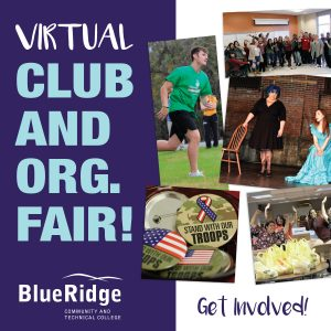 Virtual Club and Org Fair. Pictures of Students on Campus.