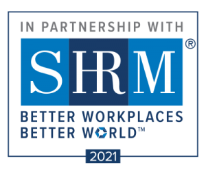 in partnership with SHRM better workplaces better world. 2021 logo
